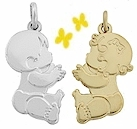 Baby pendants and charms for mothers baby boy charm in sterling silver baby girl charm in 14k yellow gold aloadofball Choice Image