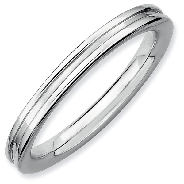 Sterling Silver Black Ruthenium Plated 2.25 mm Stackable Ring QSK241