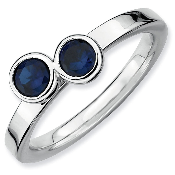 September Ring QSK406 Silver Stackable Ring 2 Heart Created Sapphire Stones