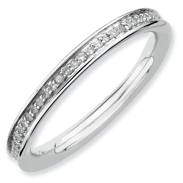 QSK333 Sterling Silver Stackable 2.50 mm Ring with Diamonds Rhodium-plated